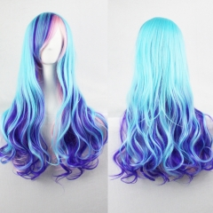 70CM Synthetic Fiber Long Curly Full Wig High-temperature Cosplay Party as picture one size