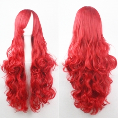 80CM Anime High Temperature Synthetic Fiber Long Curly Hair Wig Cosplay red one size