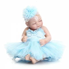 "11"" Handmade Real Looking Newborn Baby Vinyl Silicone Realistic Reborn Doll Girl blue cute simulation baby"
