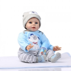 "22"" Npkdoll Reborn Doll Handmade Lifelike Baby Solid Silicone Dolls +Clothes blue cute simulation baby"