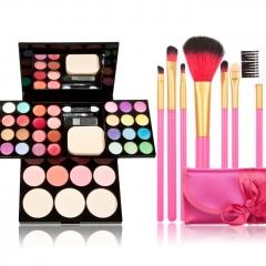 Pro Makeup Set Eyeshadow Foundation Blusher Powder Lip Gloss Eyelash + 7 Brush as picture