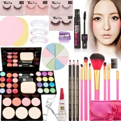 Makeup Palette Kits Gift Set Eyeshadow Foundation Powder Blusher Lip Gloss Brush as picture