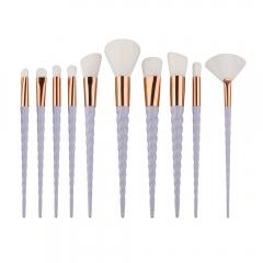 10Pcs Eyeshadow Foundatioin Lip Brush Pro Makeup Cosmetic Brushes Set Tool white
