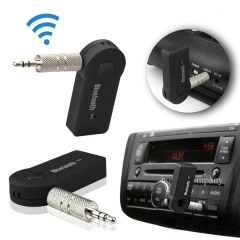 Wireless Bluetooth 3.5mm AUX Audio Stereo Music Home Car Receiver Adapter Mic black one