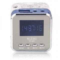 TT-029 Mini Music Speaker Color LED Alarm Multimedia FM Radio MP3 PC USB Blue blue dc 5v one