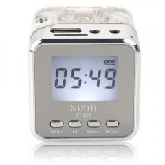 Mini Portable Speaker TT028 MP3 Player PC HiFi LCD USB FM Radio silver dc 5v one