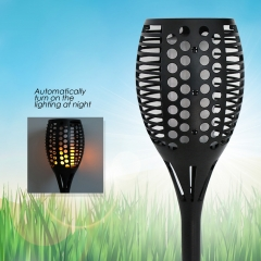 96 LED Solar Power Path Torch Light Dancing Flame Lighting Flickering Yard Lamp black 1w