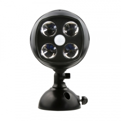 4-LED Battery Powered Motion Sensor Security Light Outdoor Lamp Spotlight black one