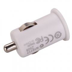 Mini Universal USB Car Charger Adapter for MP3 Round Plug White