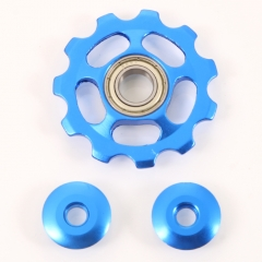 Bicycle Premium Anodized CNC Rear Derailleur Pulley for Mountain Bikes Blue