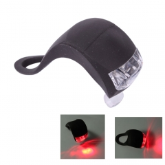 LED Bike Light Bicycle Red Lamp Waterproof Head Tail Wheel Black Silicone