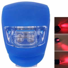 Blue Silicone Rear Wheel Double LED Flash Light Bike Cycling Red