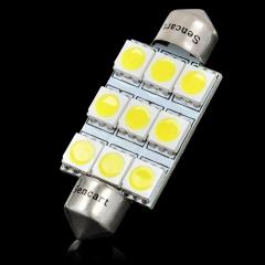 42mm 2W 6500K 126-Lumen 9-SMD LED White Light Bulb for Car (DC 12V)