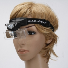 5 Lens Jewelry Magnifying Glass Headband Loupe Magnifier with 2 LED Light #9892C black one size