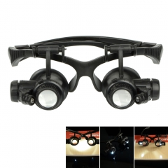 10X 15X 20X 25X LED Magnifier Double Eye Glasses Loupe Lens Jeweler Watch Repair black one size
