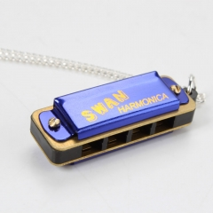 Swan Blue Mini 4 Hole 8 Tone Kids Harmonica w/ Necklace Musical Music Gift