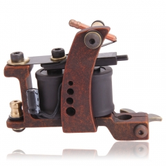 New Pro 10 Wrap Coils Tattoo Machine Gun for Liner Zinc Alloy Body Brown Color as picture