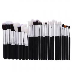 25pcs Nylon Bristle Wooden Handle Makeup Brush Set Brown & White Hair as picture