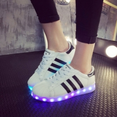 Shell Toe Stripe Pattern Colorful LED Luminous Unisex Sneakers white 35