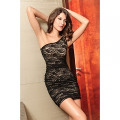 2498 Deer love/DL Asymmetric Lace Bag Hip Tight Dress Black One Size