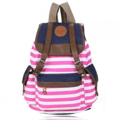 Korean Style Unisex Classic Stripes Pattern Canvas Backpack Rose Red one size