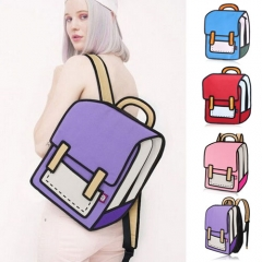 3D Jump Style 2D Drawing From Cartoon Paper Shoulder Bag Comic Backpack Bookbag pink one size