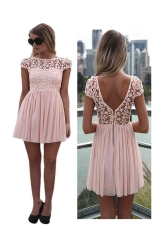 Sexy Womens Lace Chiffon Sleeve Backless Party Cocktail Evening Dress pink m
