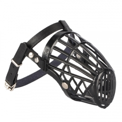 Leather Basket Cage Adjustable Pet Dog Muzzle Black Size-3 black one