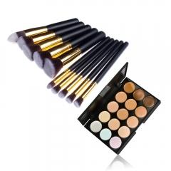 Pro Makeup Kit Concealer Palette 15 Colors 10Pcs Cosmetics Brush Brushes Set New as picture