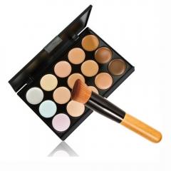 New 15 Colors Contour Face Cream Makeup Concealer Palette + Powder Brush Set as picture