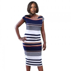 Cherry Couture Navy Multistripe Print Cap Sleeve Midi Dress