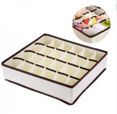 Collapsible 24 Cell Fabric Organizer Storage Box Socks Underwear Closet Baskets Divider random