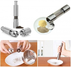 2016 Hot Sale Aluminum Stainless Steel Thumb Push Salt Pepper Grinder Spice Sauce Mill Tool silver