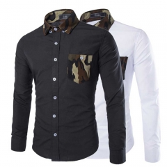 Simple Design Camouflage Decoration Long Sleeve Business Shirt for Male Black xxl
