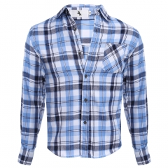 Casual Grid Design Slim Fit Male Long Sleeve Shirt Azure xxl