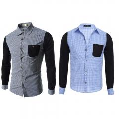 Casual Grid Design Color Block Male Long Sleeve Shirt blue xxl