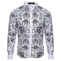 Slim Fit Floral Printed Long Sleeve Casual Shirt for Male white xxl