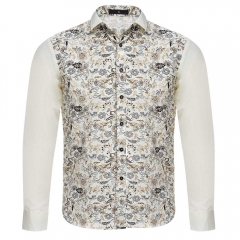 Stylish Floral Print Slim Fit Patchwork Male Long Sleeve Shirt Off-white xxl