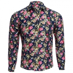 Floral Print Turn Down Collar Long Sleeve Casual Shirt for Male Multicolor L