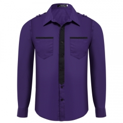 Color Block Slim Fit Turn Down Collar Long Sleeve Casual Shirt for Male Purple M