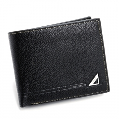 Fashion PU Leather Three Fold Wallet for Men black one size