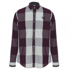 Turn-down Collar Plaid Pattern Long Sleeve Shirt for Men red m