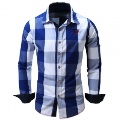 Turn-down Collar Plaid Pattern Long Sleeve Shirt for Men blue m