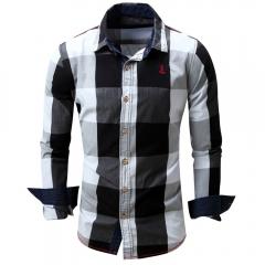 Turn-down Collar Plaid Pattern Long Sleeve Shirt for Men black m