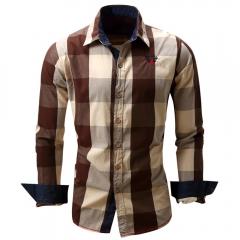 Turn-down Collar Plaid Pattern Long Sleeve Shirt for Men coffee m