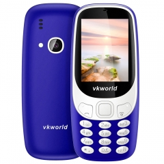 Vkworld Z3310 Quad Band Unlocked Phone 2.4 inch 3D Arc Screen Spreadtrum 6531 Bluetooth 2.0MP Camera blue