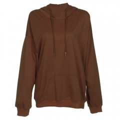 Hooded Long Sleeve Solid Color Pocket Women Hoodie_CAMEL CAMEL S