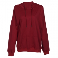 Hooded Long Sleeve Solid Color Pocket Women Hoodie wine red s
