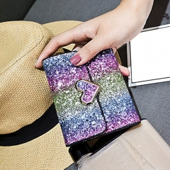 Multicolor Metal Sequins Small Wallet ROSE RED ONE SIZE