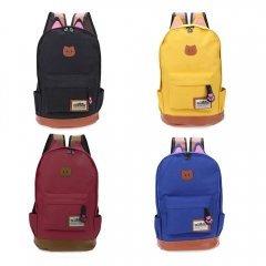 Guapabien Preppy Cat Patchwork Canvas Zipper Backpack black one size